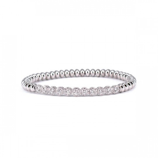 ELASTIC BRACELET IN WHITE GOLD AND DIAMONDS