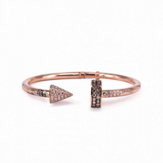 PINK GOLD OPEN BRACELET WITH DIAMONDS