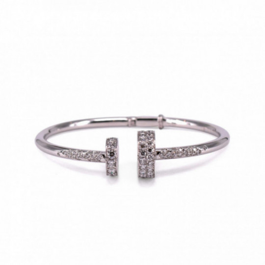 BRACELET OPEN CIRCLES IN WHITE GOLD AND DIAMONDS