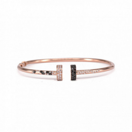 OPEN PINK GOLD BRACELET SEMI CIRCLES WITH DIAMONDS