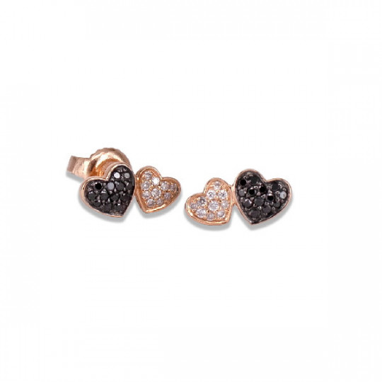 DOUBLE HEART EARRINGS WITH TWO-TONE BRILLIANT-CUT DIAMONDS