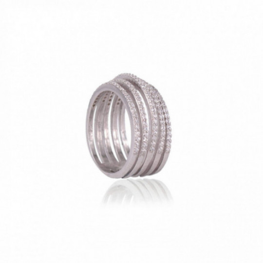 MULTIPLE SILVER RING WITH WHITE ZIRCONIA