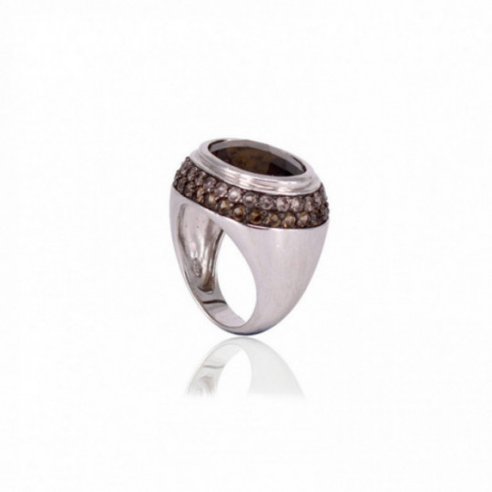 SILVER RING WITH BROWN STONE