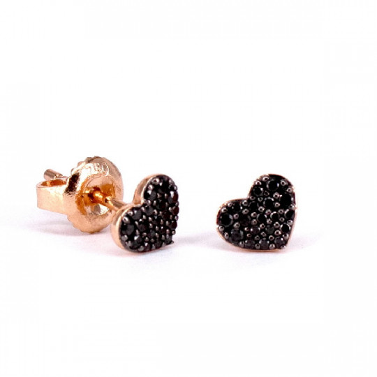 HEART EARRINGS WITH SHINY BLACK
