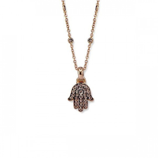 FATIMA HAND PENDANT WITH BROWN DIAMONDS