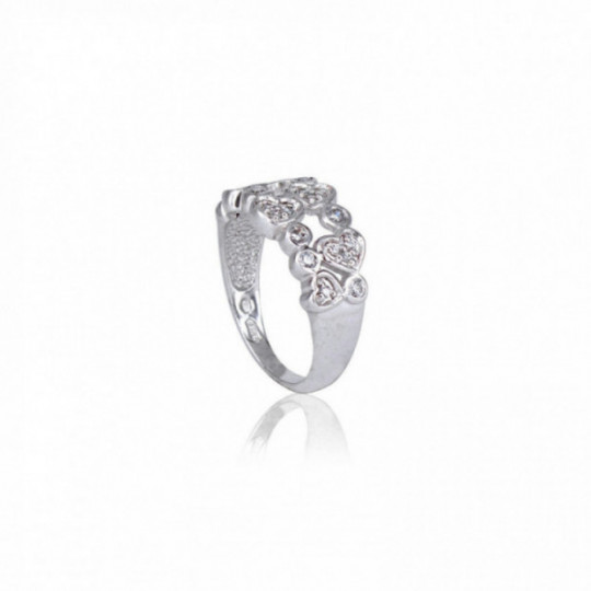 RING WITH HEARTS AND SMALL ZIRCONIA