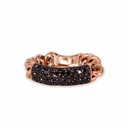 CHAIN RING WITH BLACK DIAMONDS