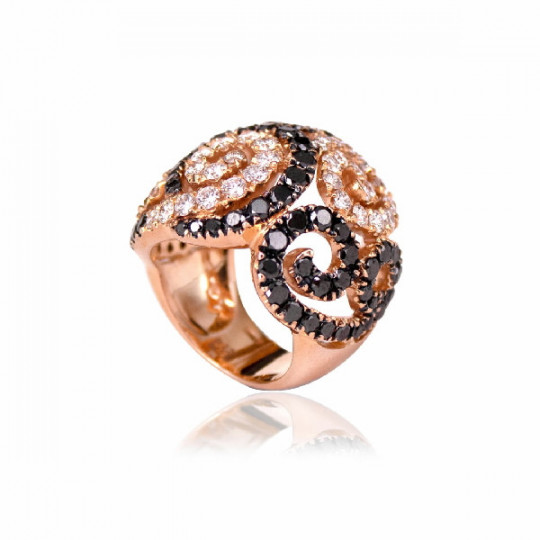 SPIRAL RING WITH SHINY BLACK & WHITE