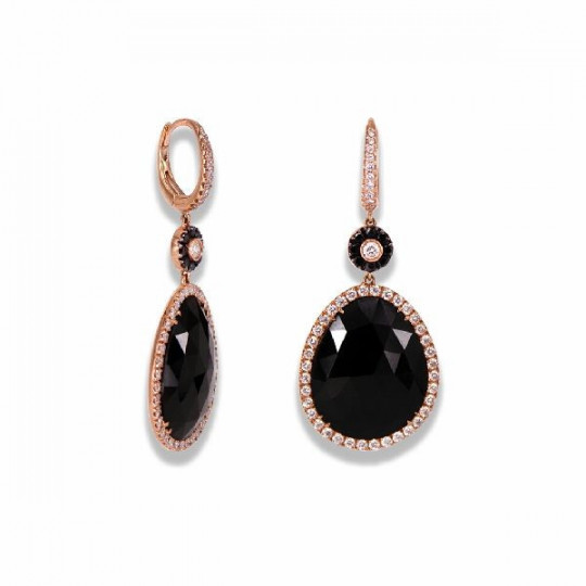 LONG EARRINGS OF DIAMONDS AND ONYX