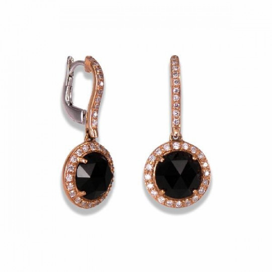 LONG EARRINGS OF ONYX AND DIAMONDS