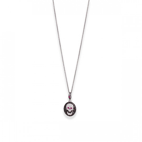 PENDANT WITH SKULL CHAIN OF DIAMONDS