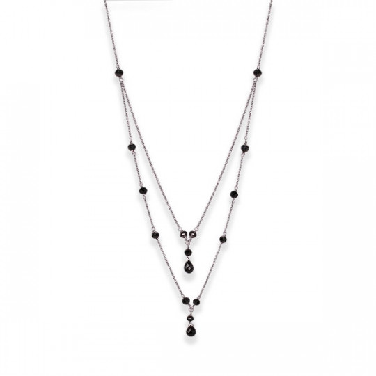 DOUBLE CHAIN WITH BLACK DIAMONDS