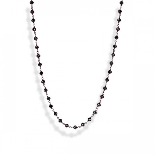 BLACK ROSARY TYPE BRILLIANT NECKLACE