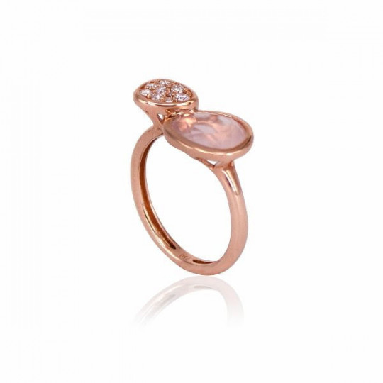 RING WITH QUARTZ ELEMENT AND DIAMONDS PAVÈ
