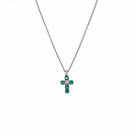 NECKLACE LARGE CROSS EMERALDS AND DIAMONDS