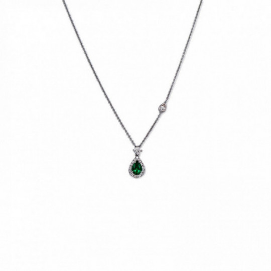 NECKLACE EMERALD TEAR AND DIAMONDS