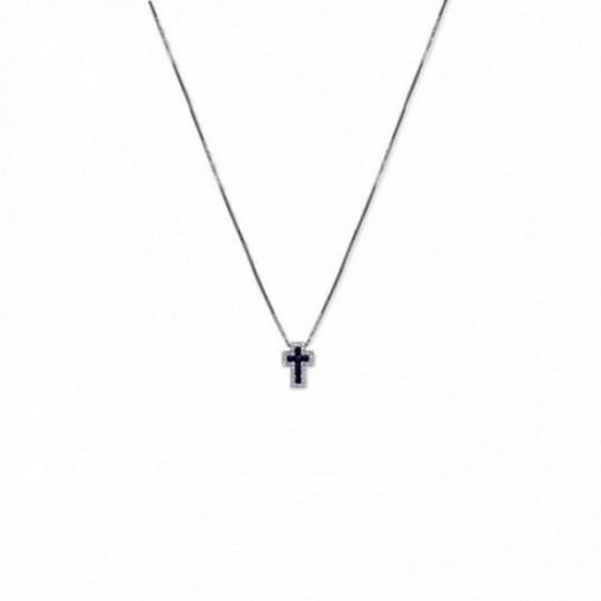 CHOKER SAPPHIRE CROSS AND DIAMONDS