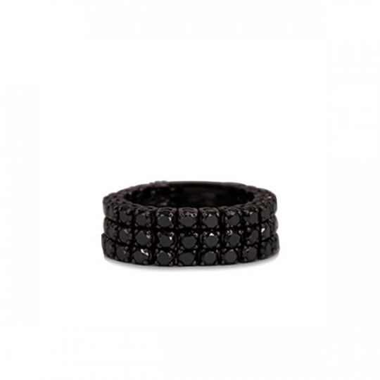 ANILLO TRIPLE FLEXIBLE DE ORO BLANCO Y BRILLANTES BLACK