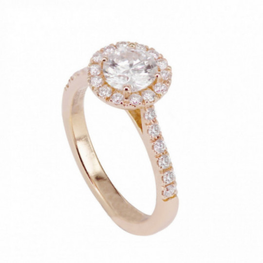 RING PINK GOLD WITH DIAMONDS