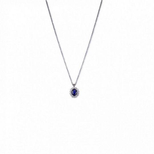 NECKLACE WITH SAPPHIRE AND DIAMONDS