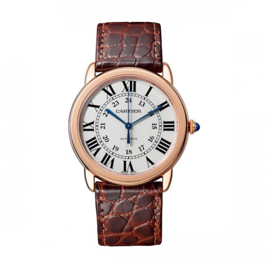 RONDE SOLO DE CARTIER WATCH W2RN0008 36 MM, ROSE GOLD, STEEL, LEATHER