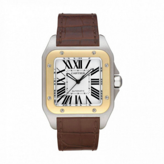 SANTOS 100 WATCH W20072X7 LARGE MODEL, STEEL, LEATHER, SAPPHIRE