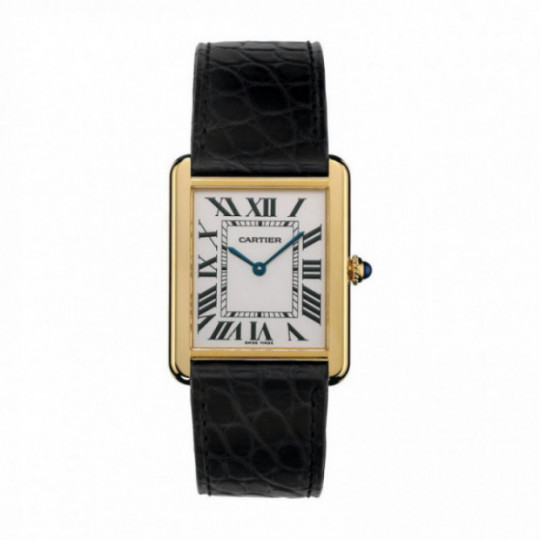 TANK SOLO WATCH W5200004 LARGE MODEL, 18K YELLOW GOLD, LATHER