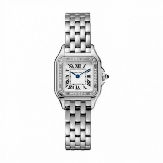 PANTHÈRE DE CARTIER WATCH W4PN0007 SMALL MODEL, STEEL, DIAMONDS