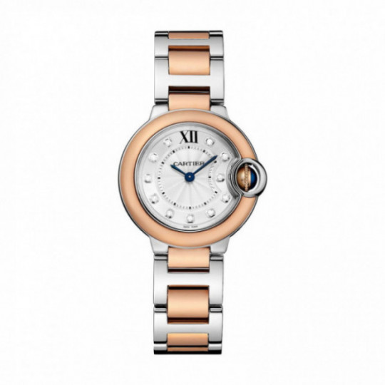 BALLON BLEU DE CARTIER WATCH W3BB0005 28 MM, ROSE GOLD AND STEEL, DIAMONDS