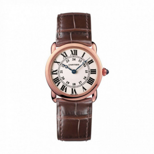 RONDE LOUIS CARTIER WATCH W6800151 29 MM, ROSE GOLD, LEATHER