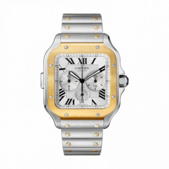 SANTOS DE CARTIER CHRONOGRAPH WATCH W2SA0008 XL MODEL, GOLD AND STEEL, TWO INTERCHANGEABLE BRACELETS