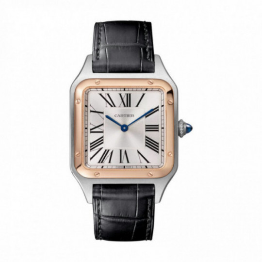 SANTOS-DUMONT W2SA0011 WATCH LARGE MODEL, 18K ROSE GOLD AND STEEL, LEATHER