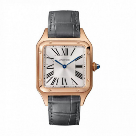 SANTOS-DUMONT WATCH WGSA0021 LARGE MODEL, ROSE GOLD, LEATHER