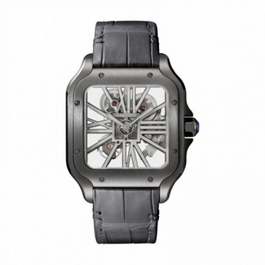 SANTOS DE CARTIER WATCH WHSA0009 LARGE MODEL, ADLC AND LEATHER