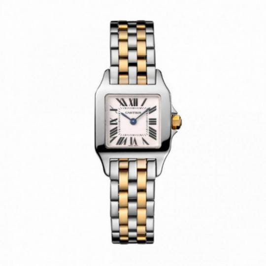 CARTIER SANTOS DEMOISELLE WATCH W25066Z6 SMALL MODEL, STEEL YELLOW GOLD