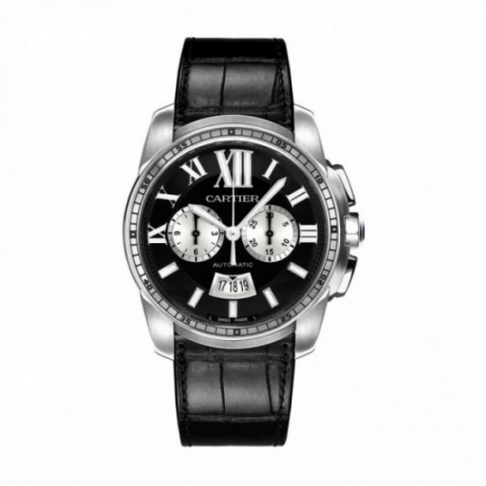 CARTIER CALIBRE DE CARTIER WATCH W7100060 42 MM, STEEL, LEATHER