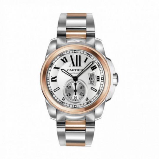 CALIBRE DE CARTIER AUTOMATIC WATCH W7100036 42 MM, ROSE GOLD, STEEL
