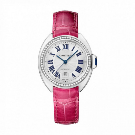 CARTIER CLÉ WATCHWJCL0015 31 MM, WHITE GOLD RHODIUM-PLATED, LEATHER, DIAMONDS