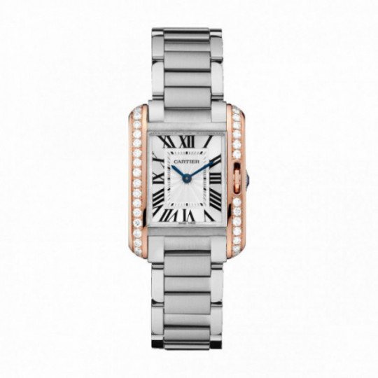 CARTIER TANK WATCH ANGLAISE W3TA0002 30.2 mm, STEEL AND GOLD ROSE, STEEL, DIAMONDS
