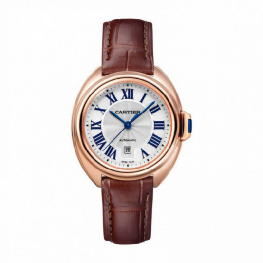 CARTIER CLÉ WATCH WGCL0010 31 MM, PINK GOLD, LEATHER