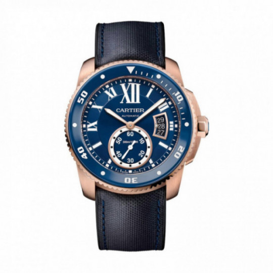 CALIBRE DE CARTIER WATCH DIVER AZUL WGCA0009 42 MM, PINK GOLD, LEATHER