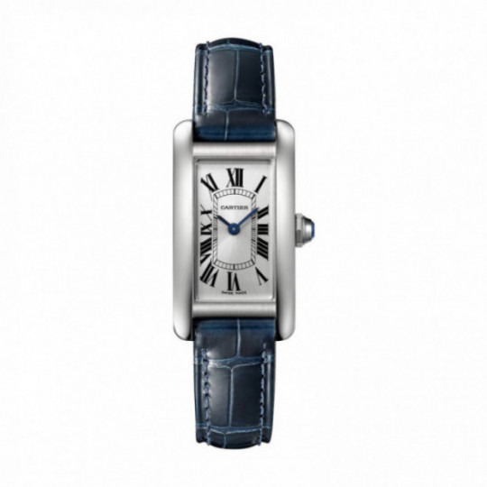 TANK AMÉRICAINE CARTIER WATCH  WSTA0016, STEEL, LEATHER