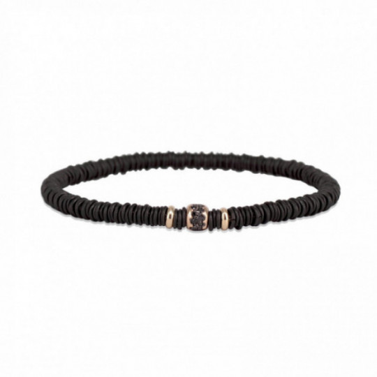 BLACK ELASTIC BRACELET WITH BLACK GLOSSY CENTER DETAIL