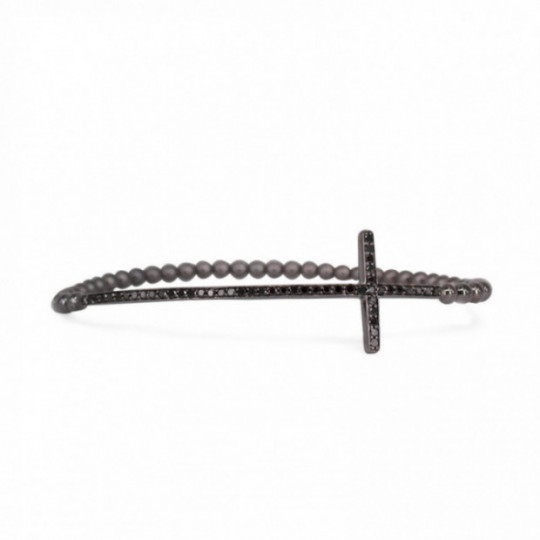 ELASTIC BRACELET WITH BRILLIANT CROSS