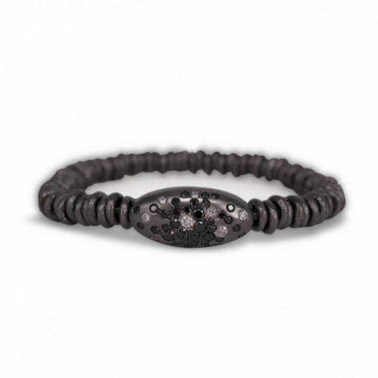 ELASTIC BRACELET OF RUTHENIUM AND BRILLIANTS