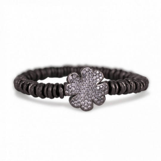 RUTHENIUM ELASTIC BRACELET AND DIAMOND CLOVER