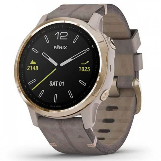 GARMIN FENIX 6S SAPPHIRE WATCH LEATHER STONE COLOUR 010-02159-40