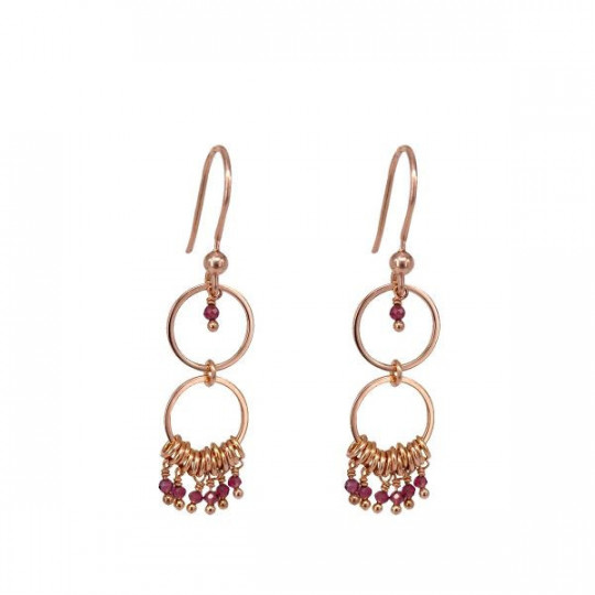 EARRINGS DOUBLE GARNET CIRCLE AL1625