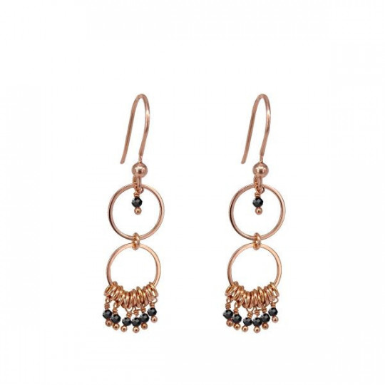 BLACK DOUBLE CIRCLE EARRINGS AL1625