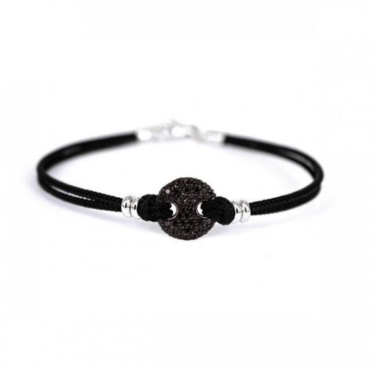 BLACK CORD BRACELET WITH BLACK DIAMONDS